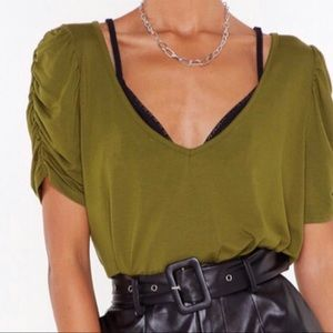 NWT Nasty Gal V-Neck Puff Sleeve Swing Top